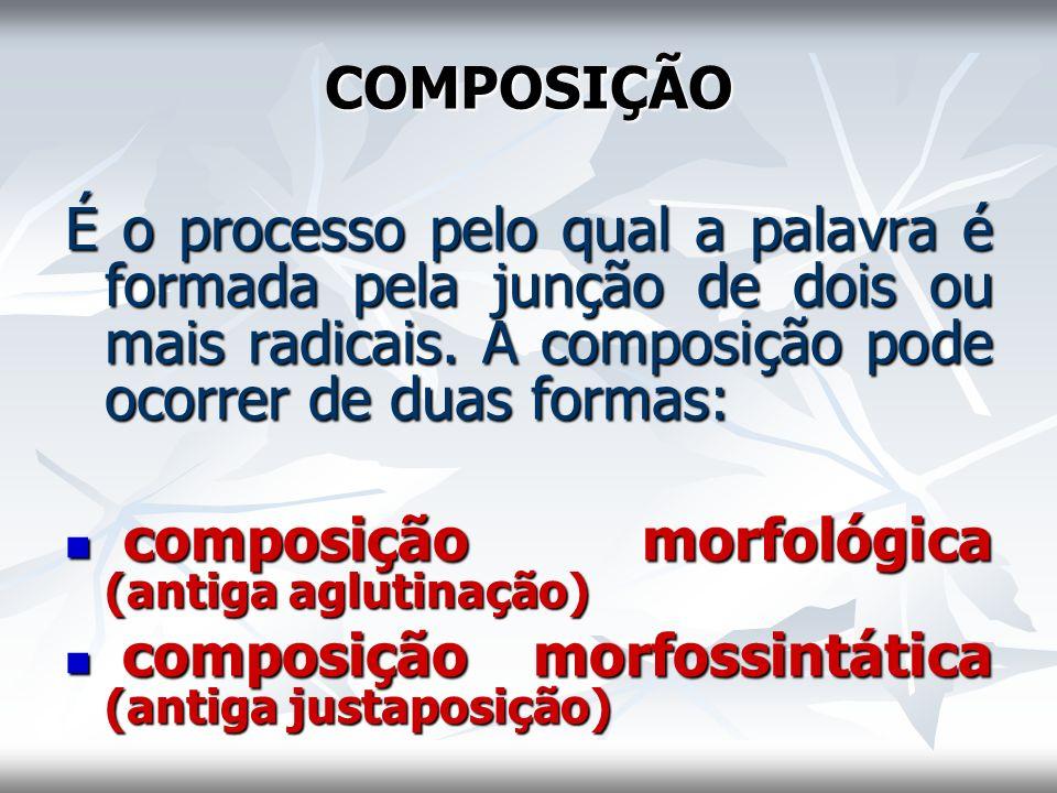 COMPOSIÇÃO É o processo pelo qual a palavra é formada pela junção de dois ou mais radicais. A composição pode ocorrer de duas formas: composição morfo