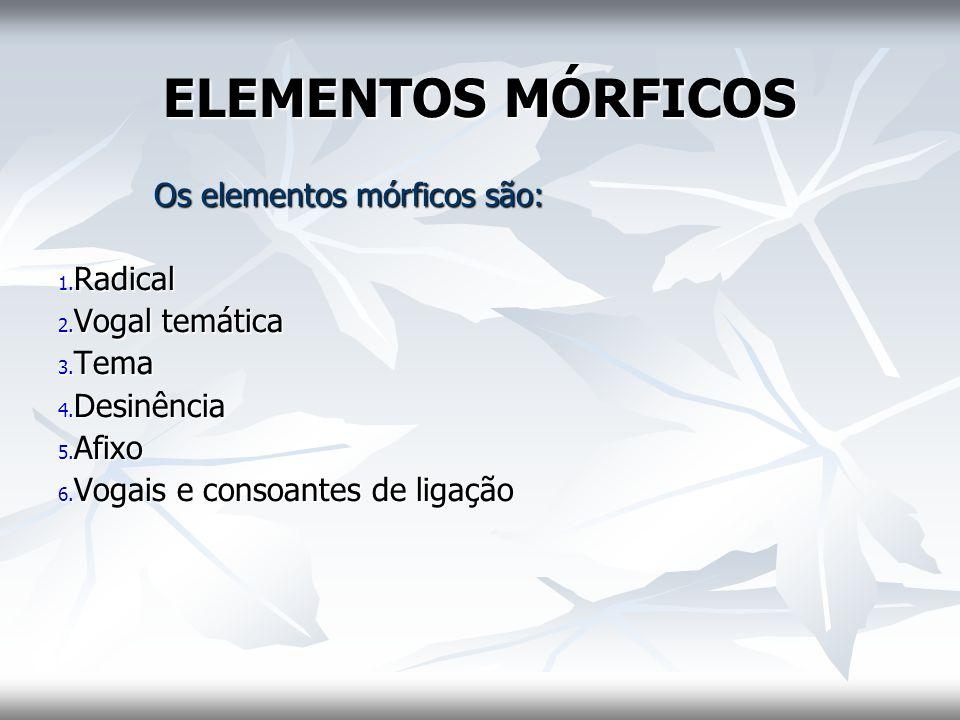 ELEMENTOS MÓRFICOS Os elementos mórficos são: 1. Radical 2. Vogal temática 3. Tema 4. Desinência 5. Afixo 6. Vogais e consoantes de ligação