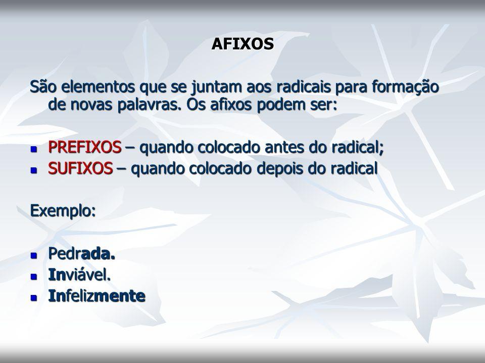 AFIXOS São elementos que se juntam aos radicais para formação de novas palavras. Os afixos podem ser: PREFIXOS – quando colocado antes do radical; PRE
