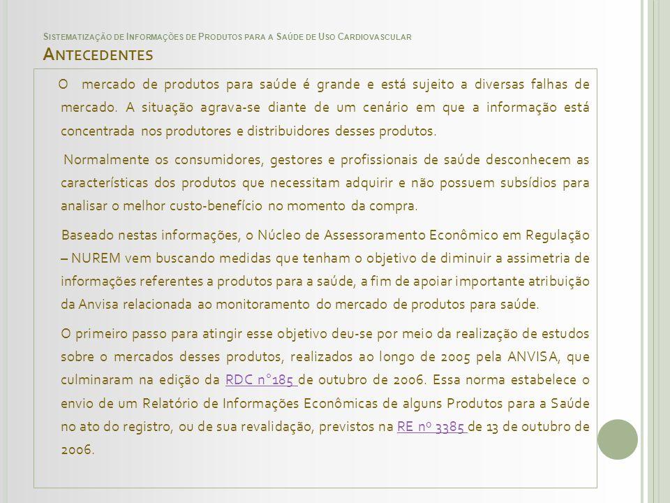 SISTEMATIZAÇÃO DE INFORMAÇÕES DE PRODUTOS PARA A SAÚDE DE USO CARDIOVASCULAR QUANTIDADE DE PRODUTOS DA BASE DE DADOS DA ANVISA X INDICAÇÃO DE USOS DAS ENDOPRÓTESES Indicação de usoQuantidade Oclusão 72 Dilatação 12 Para acessar a listas dos produtos mencionados no quadro acima, clique no botão ao lado.