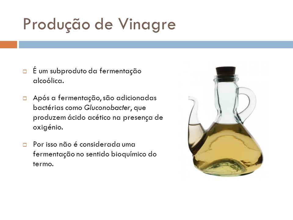 Produção de Vinagre É um subproduto da fermentação alcoólica. Após a fermentação, são adicionadas bactérias como Gluconobacter, que produzem ácido acé