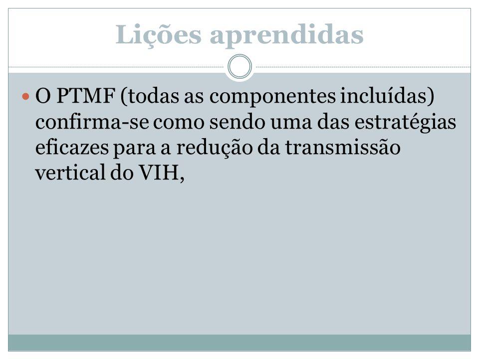 Lições aprendidas O PTMF (todas as componentes incluídas) confirma-se como sendo uma das estratégias eficazes para a redução da transmissão vertical d