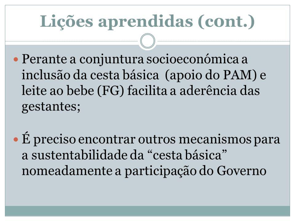 Lições aprendidas (c0nt.) Perante a conjuntura socioeconómica a inclusão da cesta básica (apoio do PAM) e leite ao bebe (FG) facilita a aderência das