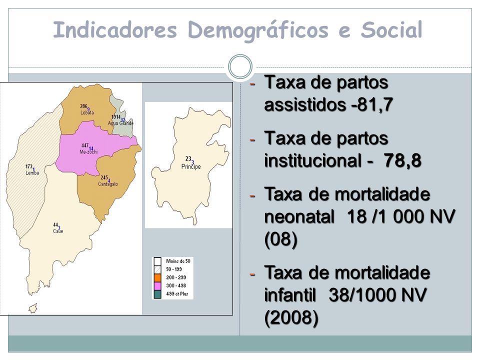 Indicadores Demográficos e Social - Taxa de partos assistidos -81,7 - Taxa de partos institucional - 78,8 - Taxa de mortalidade neonatal 18 /1 000 NV