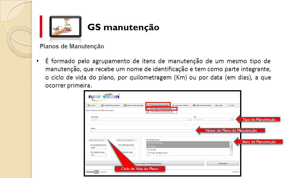 GS manutenção Planos de Manutenção É formado pelo agrupamento de itens de manutenção de um mesmo tipo de manutenção, que recebe um nome de identificaç