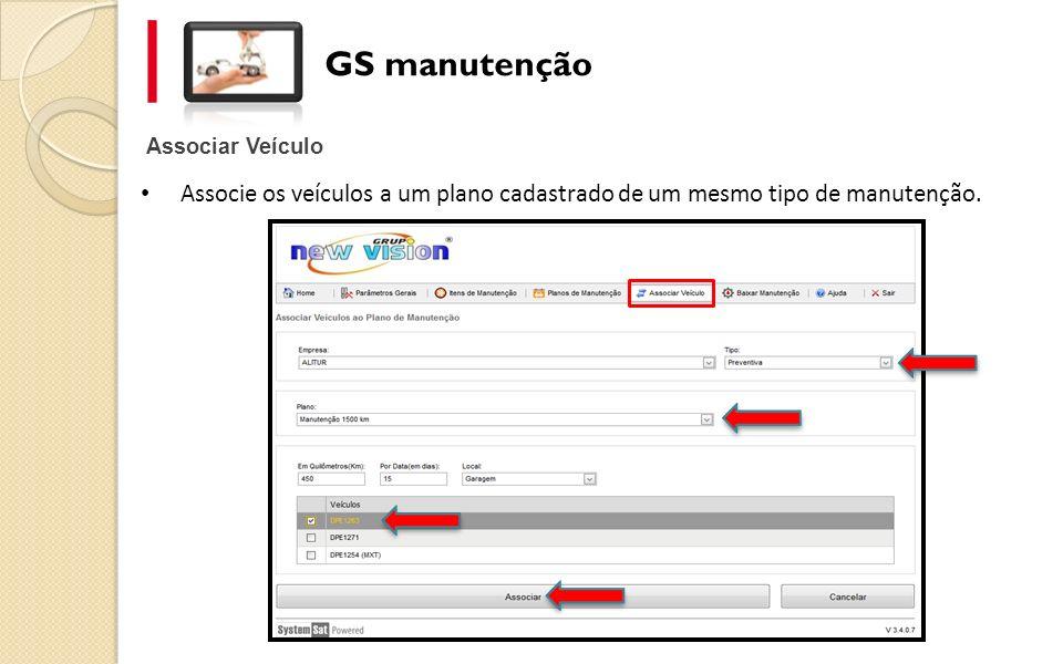 Associar Veículo GS manutenção Associe os veículos a um plano cadastrado de um mesmo tipo de manutenção.