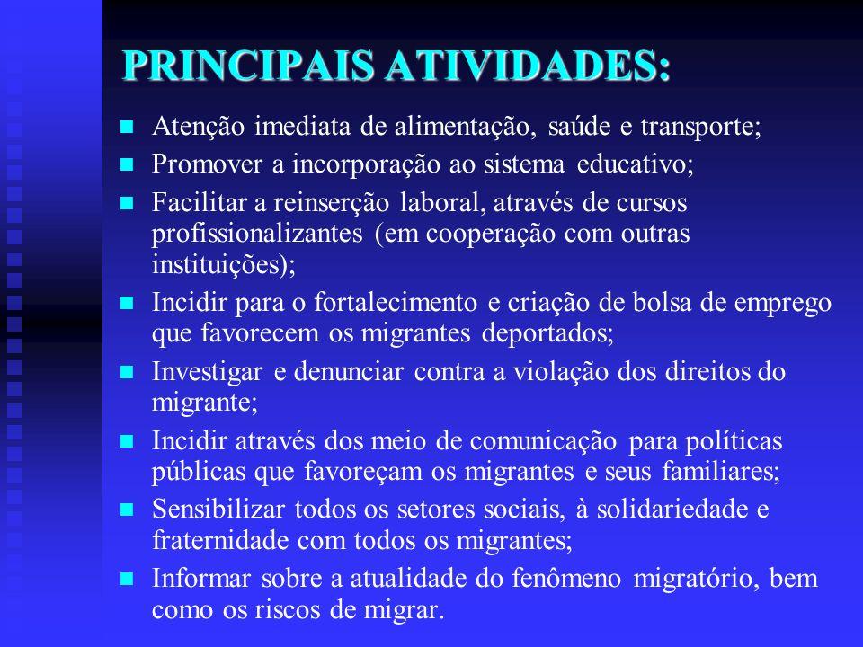PRINCIPAIS ATIVIDADES: Atenção imediata de alimentação, saúde e transporte; Promover a incorporação ao sistema educativo; Facilitar a reinserção labor