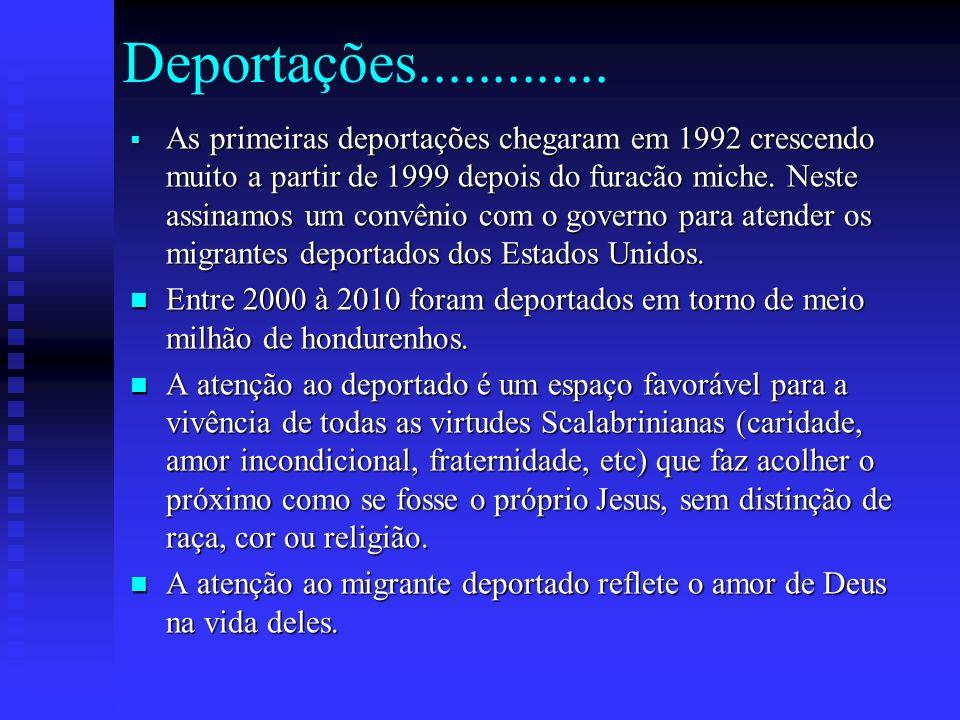 Deportações............. As primeiras deportações chegaram em 1992 crescendo muito a partir de 1999 depois do furacão miche. Neste assinamos um convên