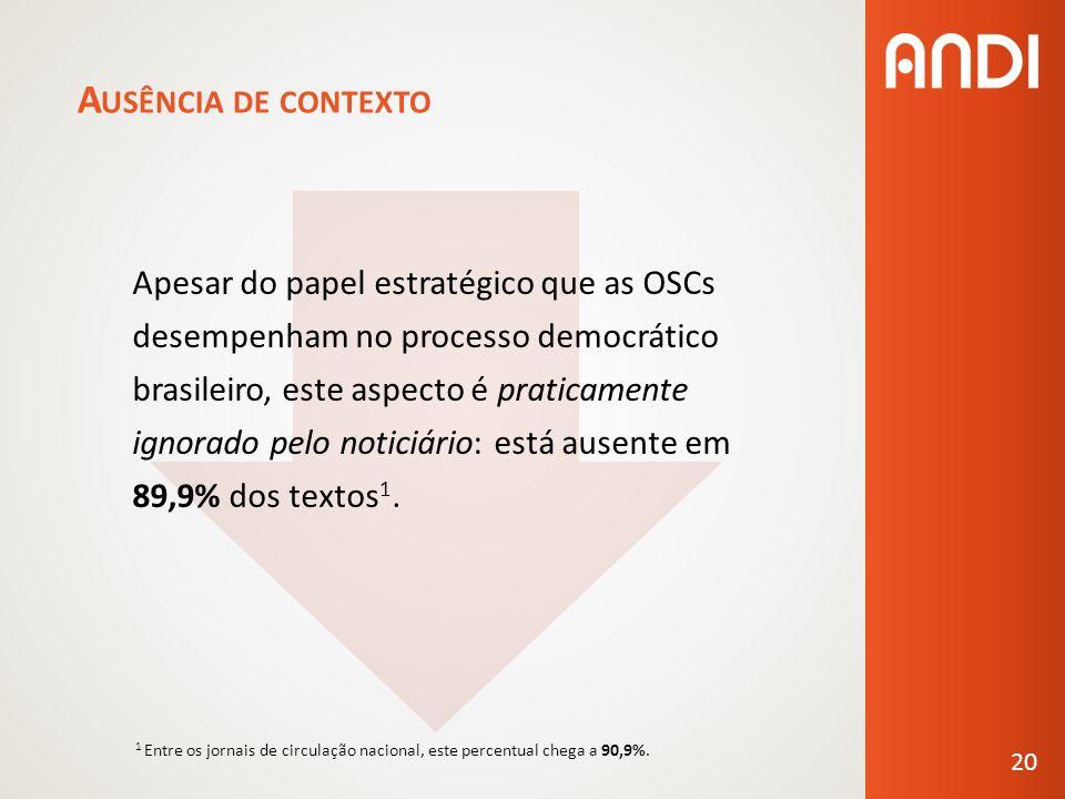 A USÊNCIA DE CONTEXTO Apesar do papel estratégico que as OSCs desempenham no processo democrático brasileiro, este aspecto é praticamente ignorado pelo noticiário: está ausente em 89,9% dos textos 1.