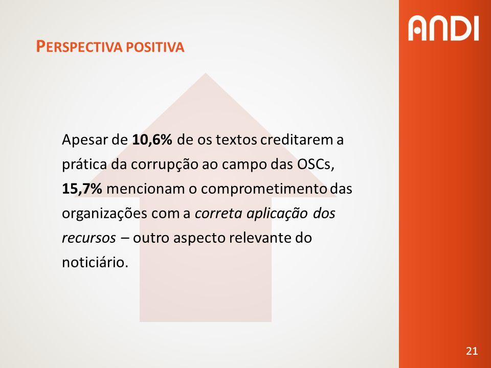 P ERSPECTIVA POSITIVA Apesar de 10,6% de os textos creditarem a prática da corrupção ao campo das OSCs, 15,7% mencionam o comprometimento das organizações com a correta aplicação dos recursos – outro aspecto relevante do noticiário.