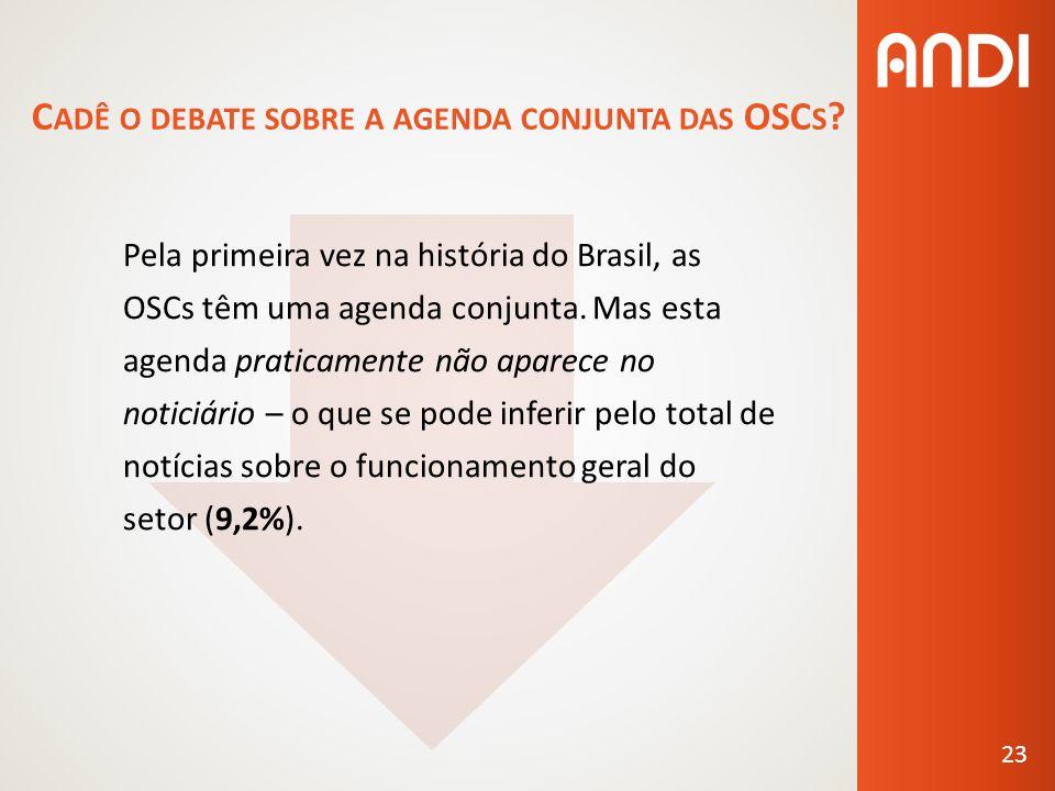 C ADÊ O DEBATE SOBRE A AGENDA CONJUNTA DAS OSC S .