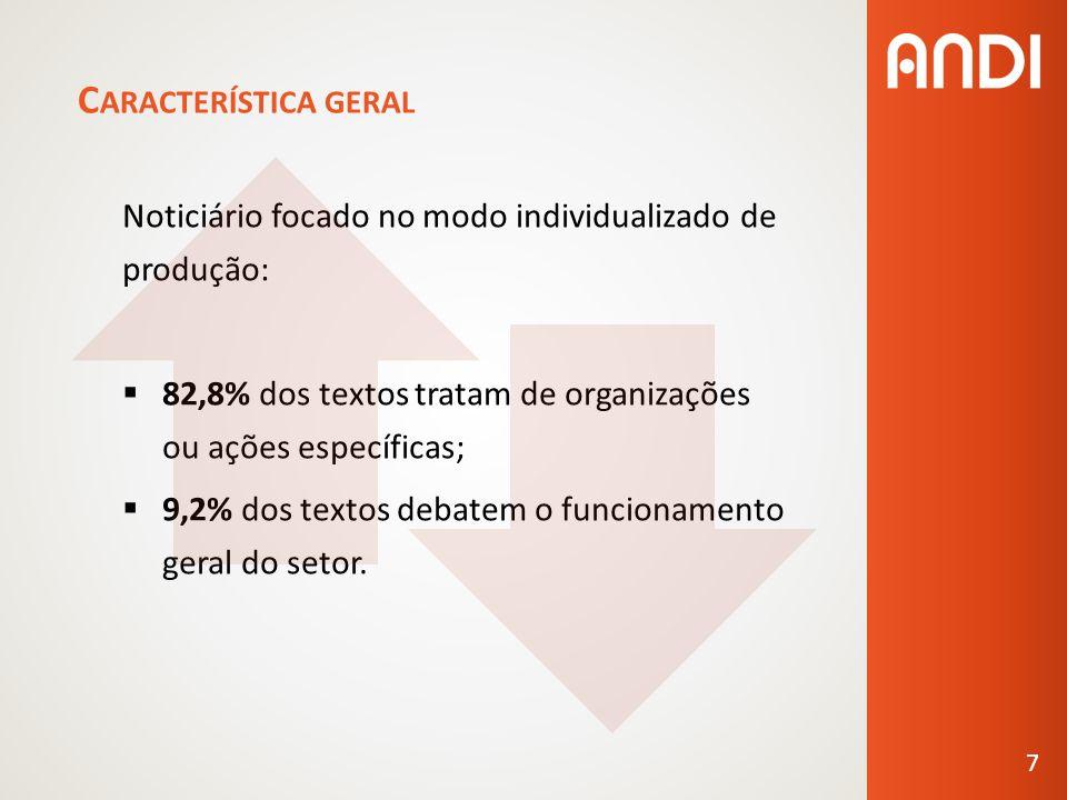 C ARACTERÍSTICA GERAL Noticiário focado no modo individualizado de produção: 82,8% dos textos tratam de organizações ou ações específicas; 9,2% dos textos debatem o funcionamento geral do setor.