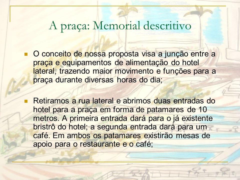A praça: Memorial descritivo Um caminho em rampa com baixa inclinação proporcionará uma passagem confortável e agradável (devido à vegetação) da Alameda Jaú para a Alameda Santos.