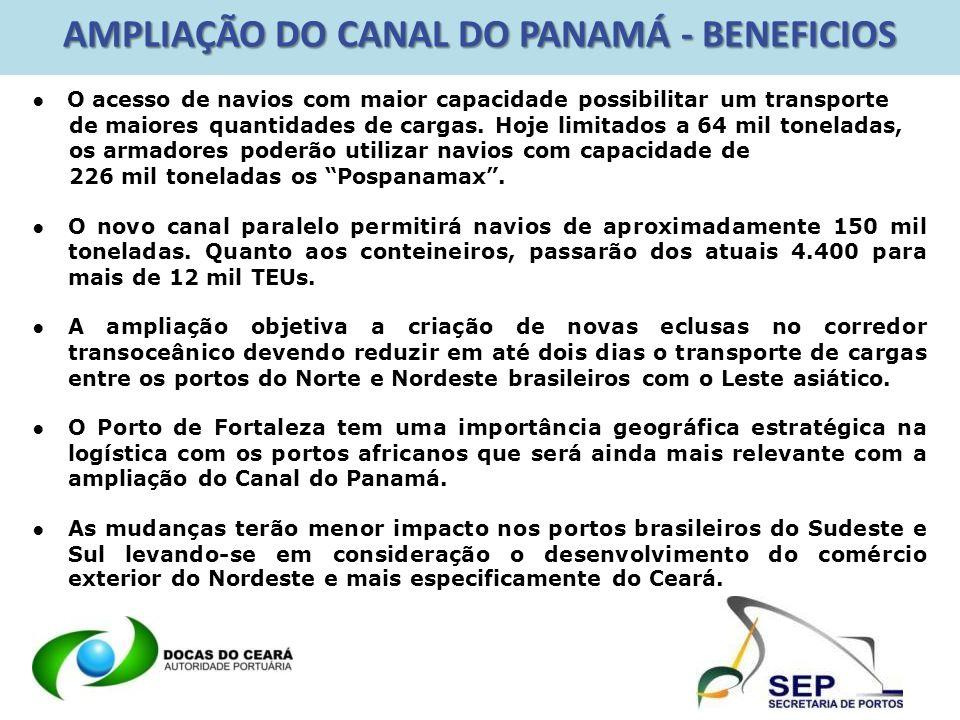 AMPLIAÇÃO DO CANAL DO PANAMÁ - BENEFICIOS Os benefícios com a ampliação do Canal do Panamá serão, por conseqüência, geradores de uma maior eficiência a qual, de forma diretamente proporcional, impactará positivamente a atratividade econômica do transporte marítimo inter-continental e das operações portuárias.