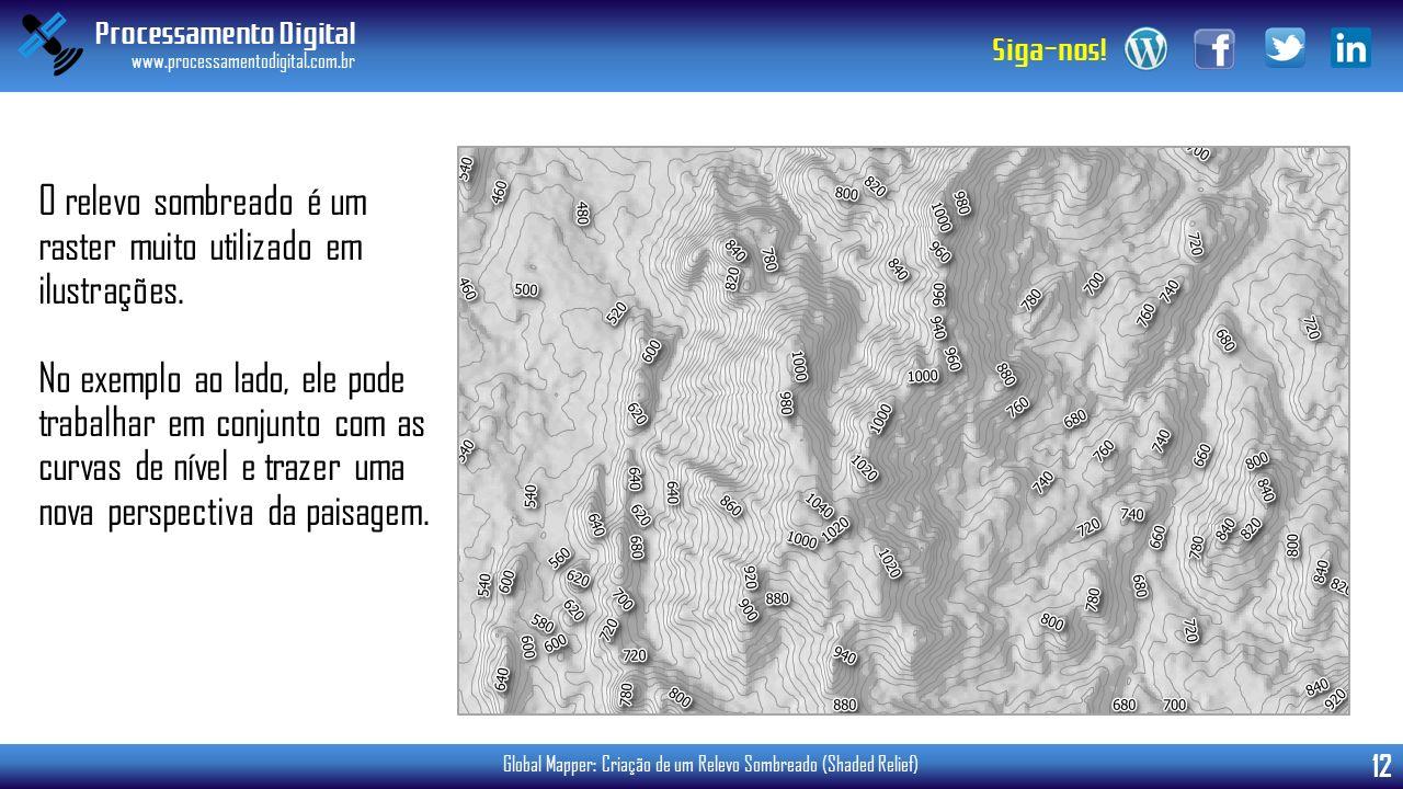 Processamento Digital www.processamentodigital.com.br 12 Siga-nos! Global Mapper: Criação de um Relevo Sombreado (Shaded Relief) O relevo sombreado é