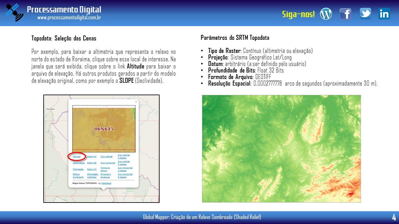 Processamento Digital www.processamentodigital.com.br 4 Siga-nos! Global Mapper: Criação de um Relevo Sombreado (Shaded Relief) Por exemplo, para baix