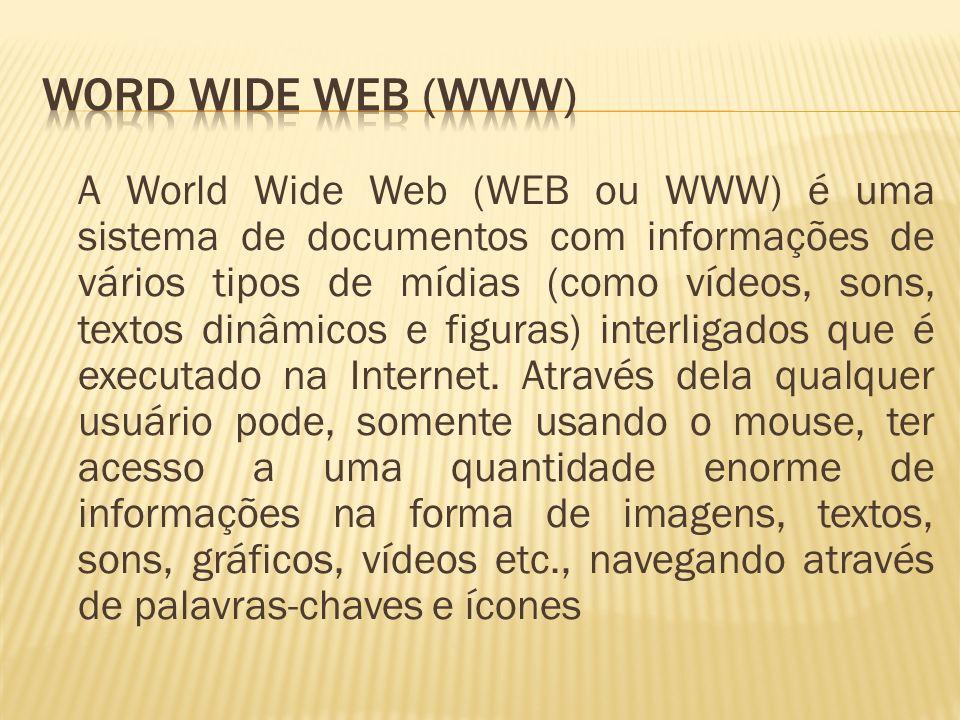 A World Wide Web (WEB ou WWW) é uma sistema de documentos com informações de vários tipos de mídias (como vídeos, sons, textos dinâmicos e figuras) in
