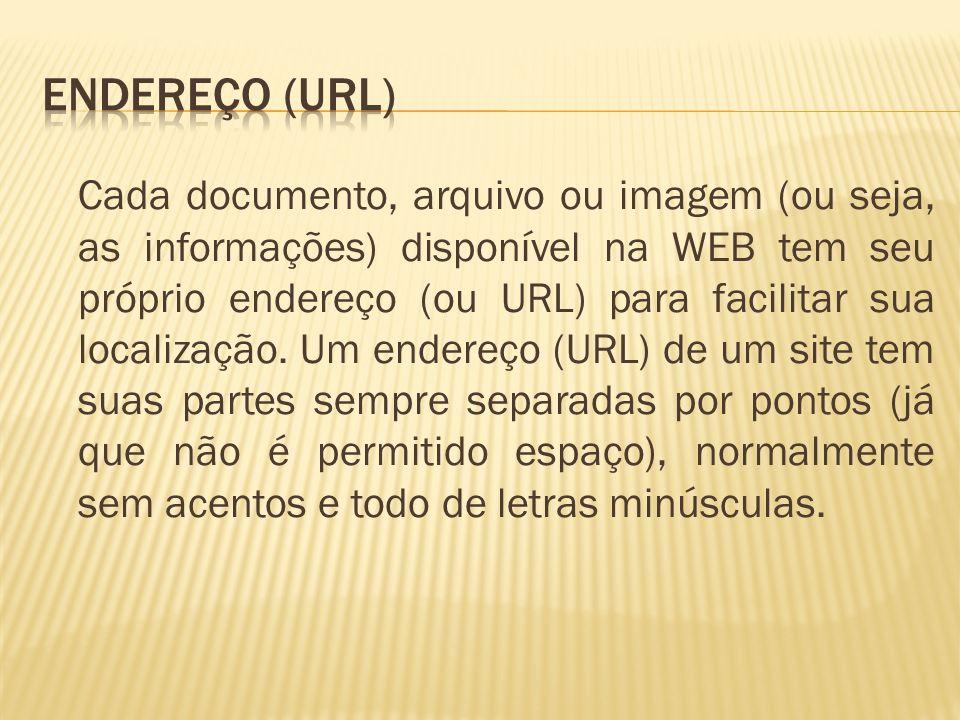 Cada documento, arquivo ou imagem (ou seja, as informações) disponível na WEB tem seu próprio endereço (ou URL) para facilitar sua localização. Um end