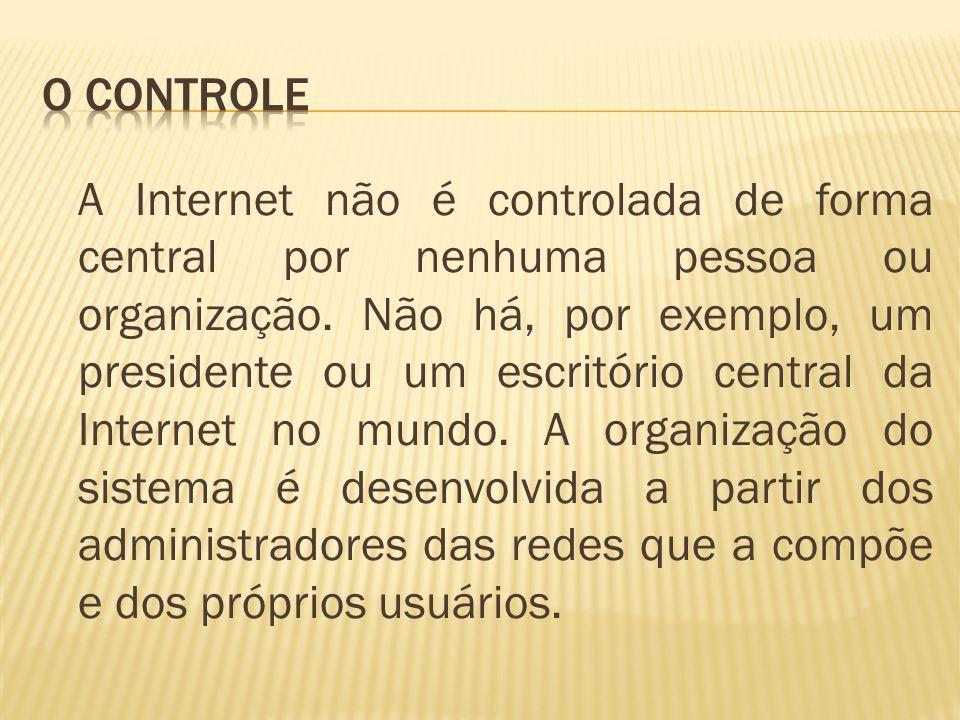 A Internet não é controlada de forma central por nenhuma pessoa ou organização. Não há, por exemplo, um presidente ou um escritório central da Interne