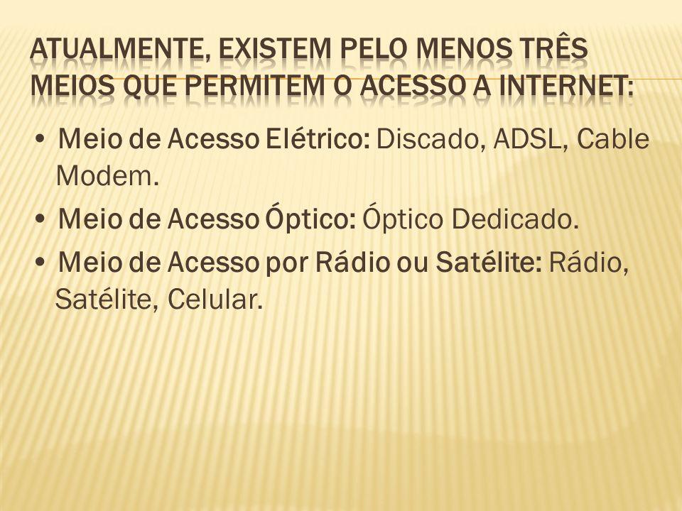 Meio de Acesso Elétrico: Discado, ADSL, Cable Modem. Meio de Acesso Óptico: Óptico Dedicado. Meio de Acesso por Rádio ou Satélite: Rádio, Satélite, Ce