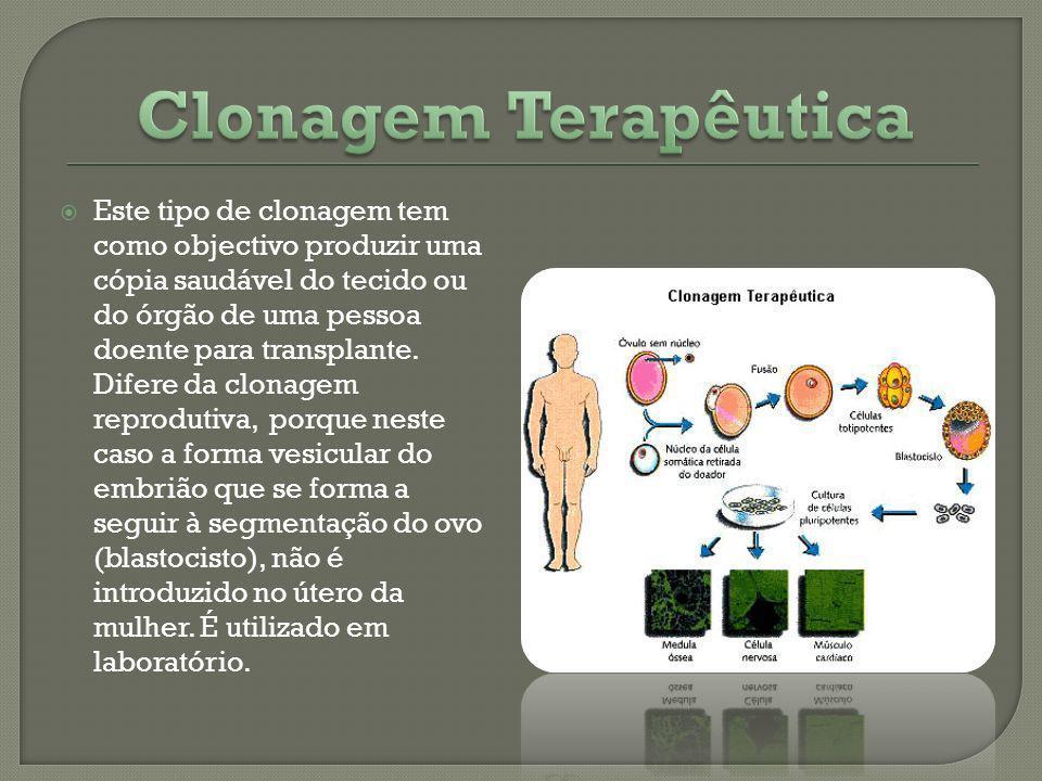 Este tipo de clonagem tem como objectivo produzir uma cópia saudável do tecido ou do órgão de uma pessoa doente para transplante. Difere da clonagem r