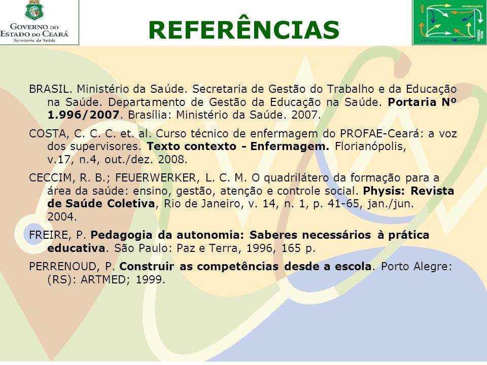REFERÊNCIAS BRASIL. Ministério da Saúde. Secretaria de Gestão do Trabalho e da Educação na Saúde. Departamento de Gestão da Educação na Saúde. Portari