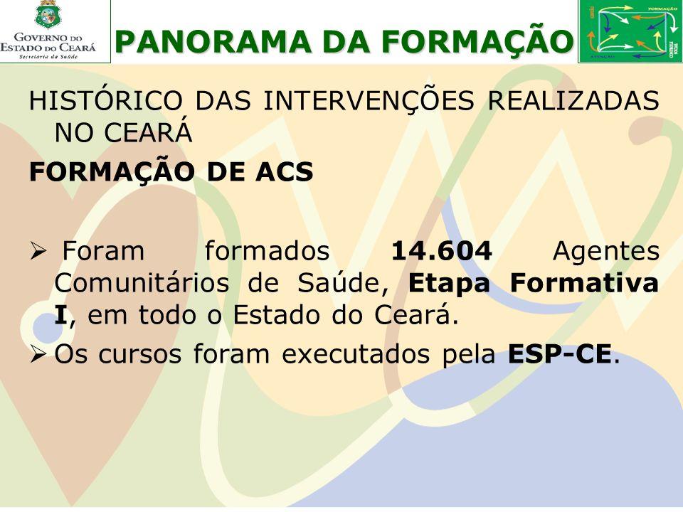 HISTÓRICO DAS INTERVENÇÕES REALIZADAS NO CEARÁ FORMAÇÃO DE ACS Foram formados 14.604 Agentes Comunitários de Saúde, Etapa Formativa I, em todo o Estad