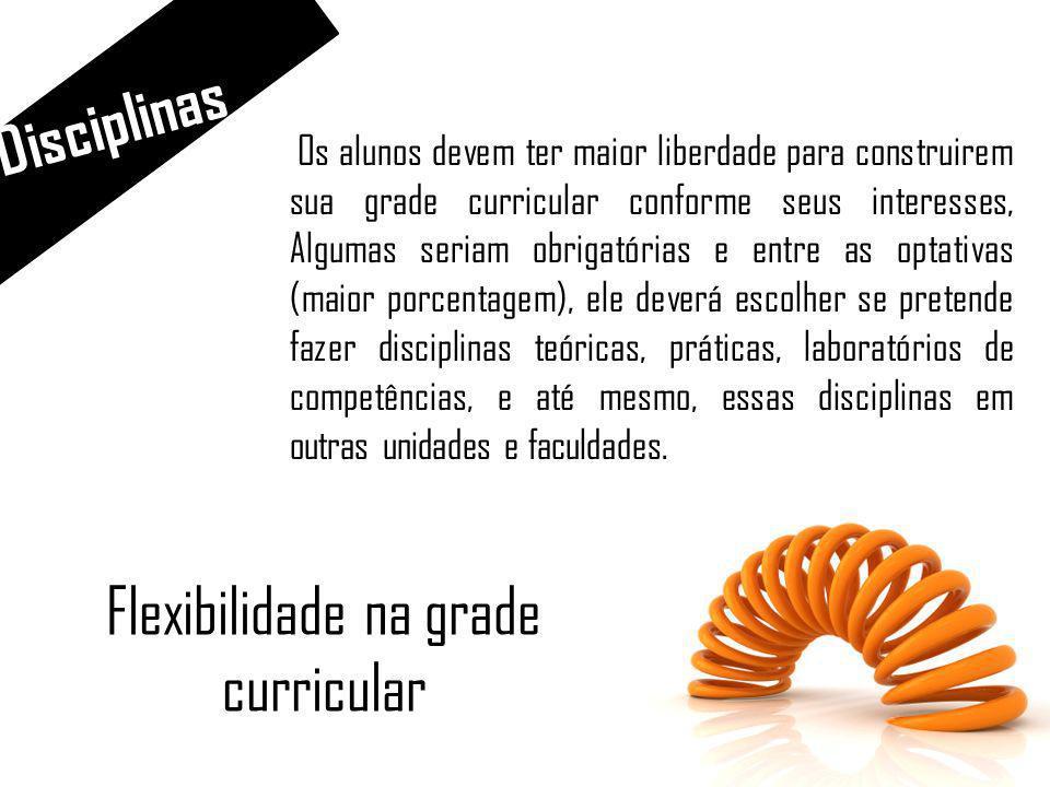 Disciplinas Mudança na grade curricular As grades curriculares devem permitir mais do que a geração de conhecimento básico. Além das habilitações teór