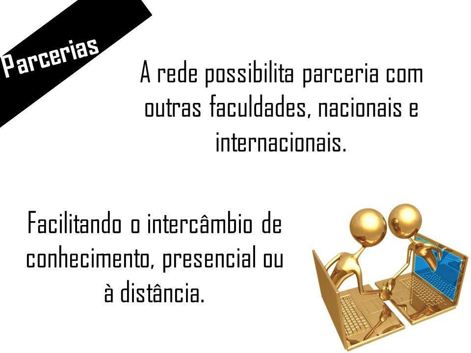Parcerias A rede possibilita parceria com outras faculdades, nacionais e internacionais.
