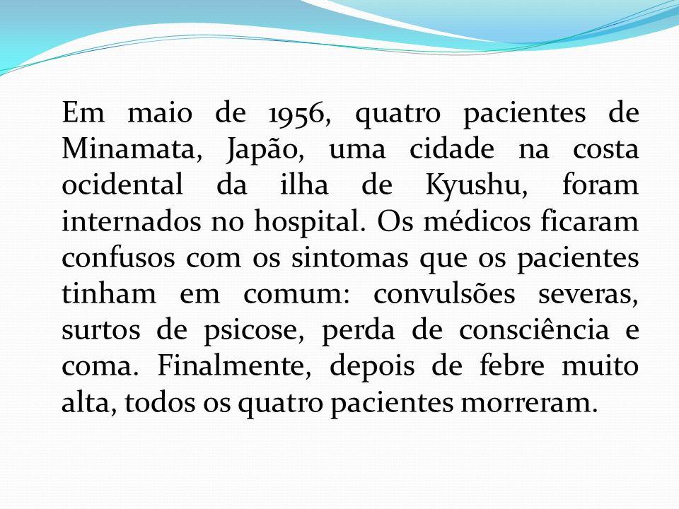 Em maio de 1956, quatro pacientes de Minamata, Japão, uma cidade na costa ocidental da ilha de Kyushu, foram internados no hospital. Os médicos ficara
