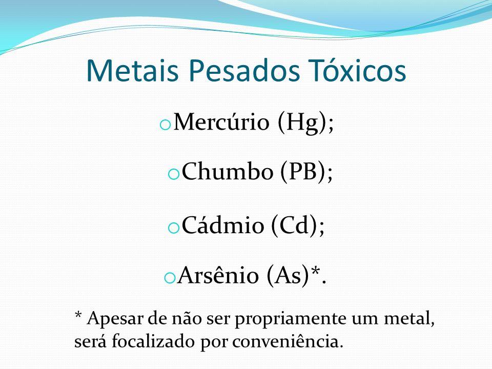 Metais Pesados Tóxicos o Mercúrio (Hg); o Chumbo (PB); o Cádmio (Cd); o Arsênio (As)*. * Apesar de não ser propriamente um metal, será focalizado por
