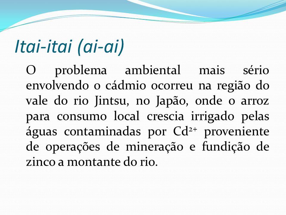 Itai-itai (ai-ai) O problema ambiental mais sério envolvendo o cádmio ocorreu na região do vale do rio Jintsu, no Japão, onde o arroz para consumo loc