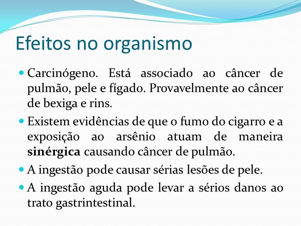 Efeitos no organismo Carcinógeno. Está associado ao câncer de pulmão, pele e fígado. Provavelmente ao câncer de bexiga e rins. Existem evidências de q