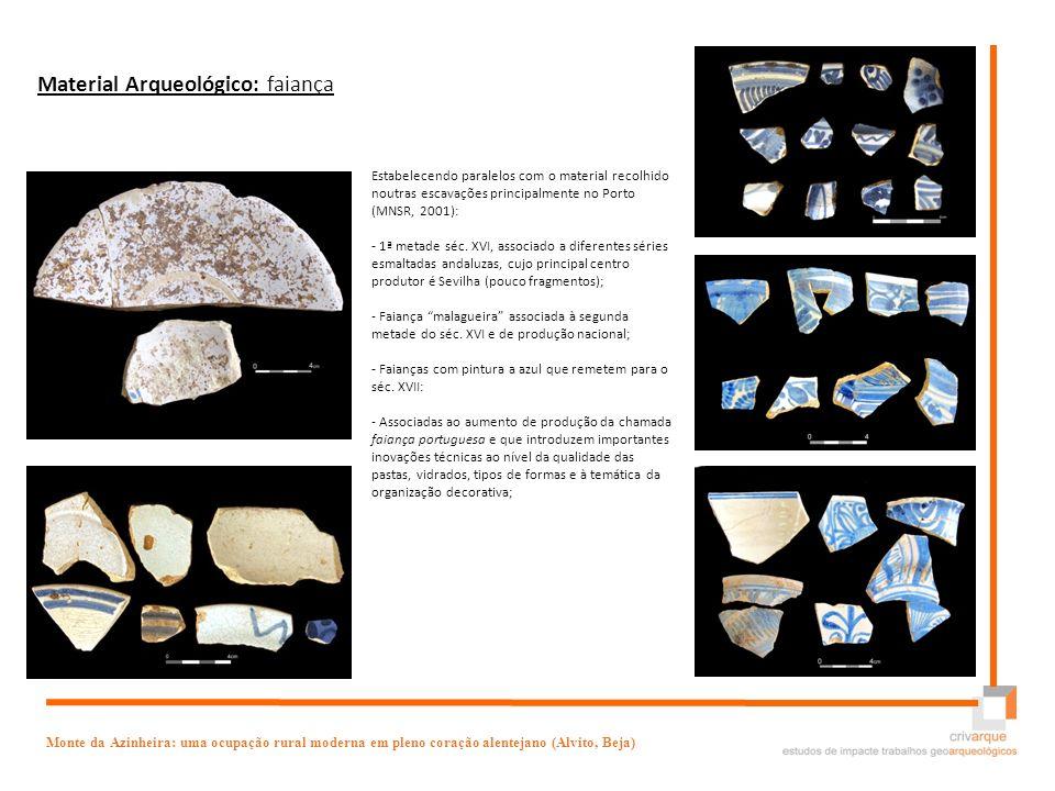 V Encontro Arqueologia do Sudoeste Peninsular Monte da Azinheira: uma ocupação rural moderna em pleno coração alentejano (Alvito, Beja) Material Arque