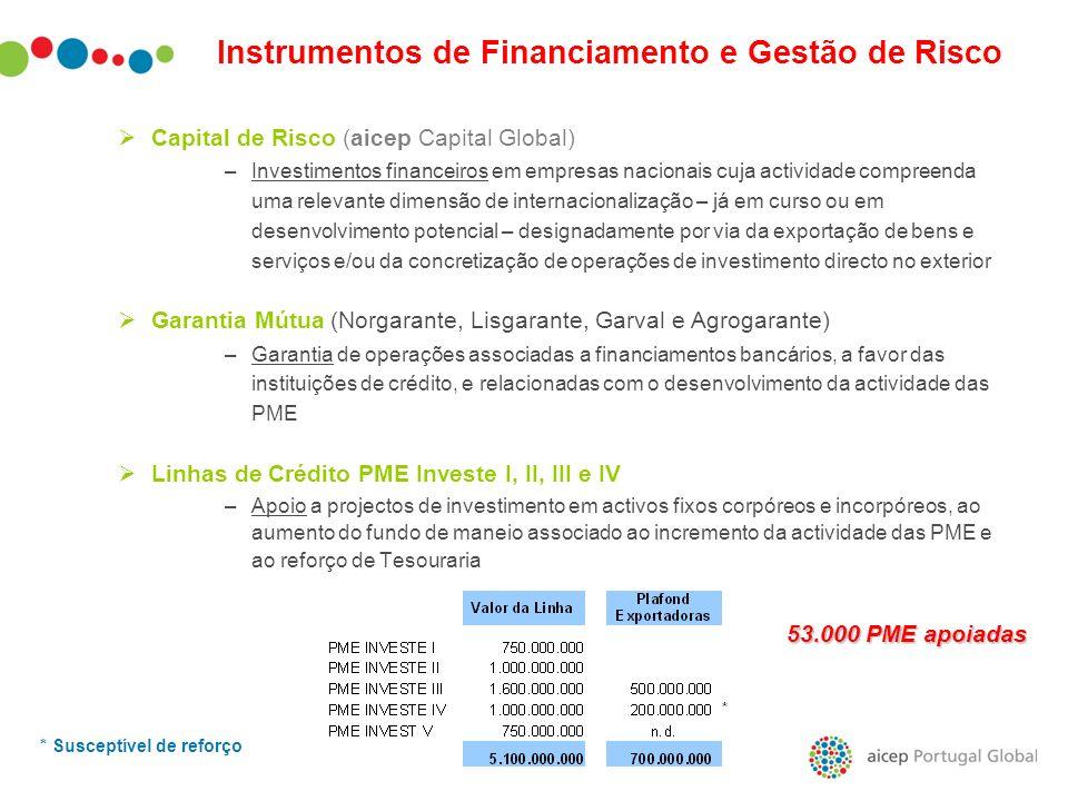 Instrumentos de Financiamento e Gestão de Risco Capital de Risco (aicep Capital Global) –Investimentos financeiros em empresas nacionais cuja activida