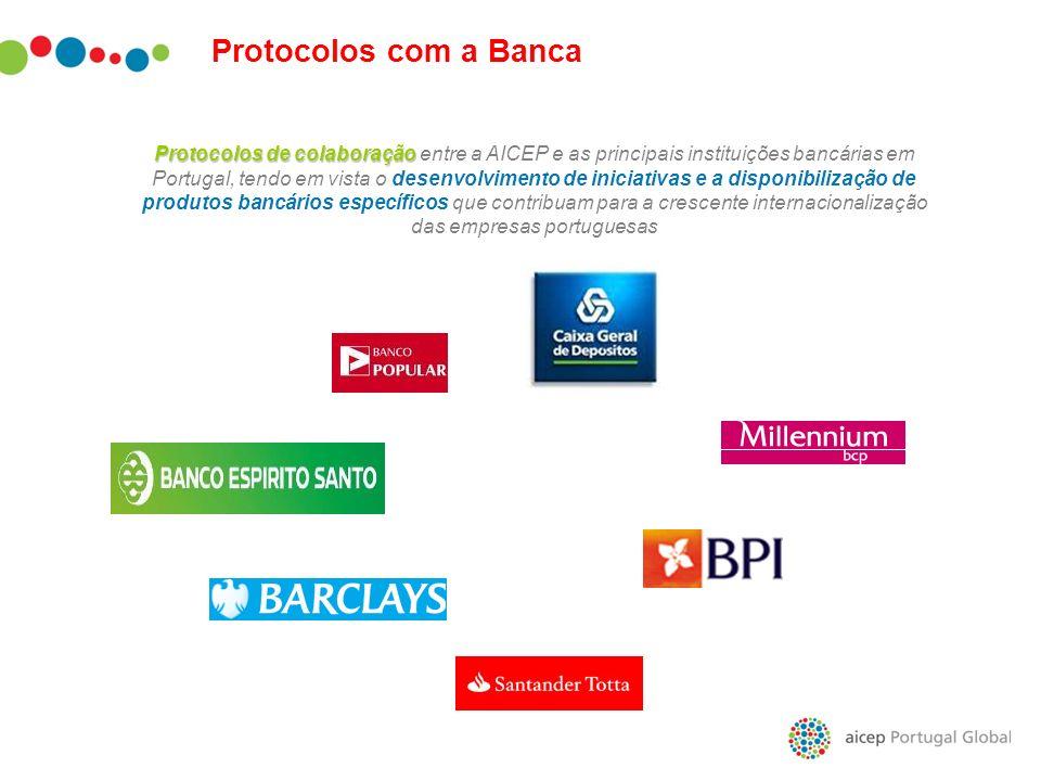 Protocolos com a Banca Protocolos de colaboração Protocolos de colaboração entre a AICEP e as principais instituições bancárias em Portugal, tendo em