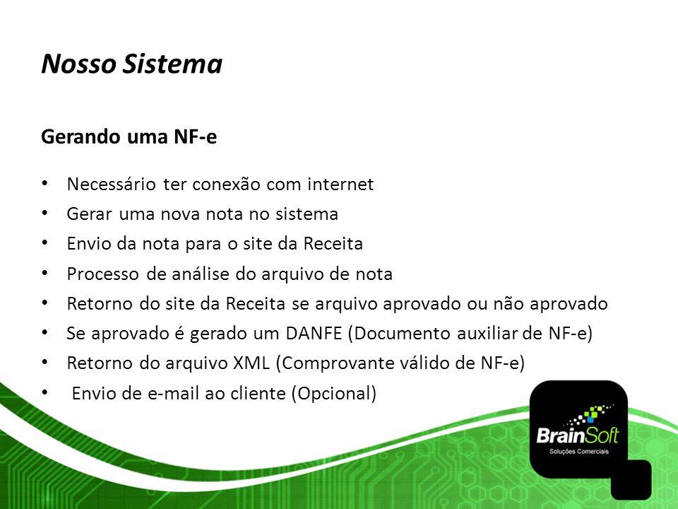 Nosso Sistema Gerando uma NF-e Necessário ter conexão com internet Gerar uma nova nota no sistema Envio da nota para o site da Receita Processo de aná