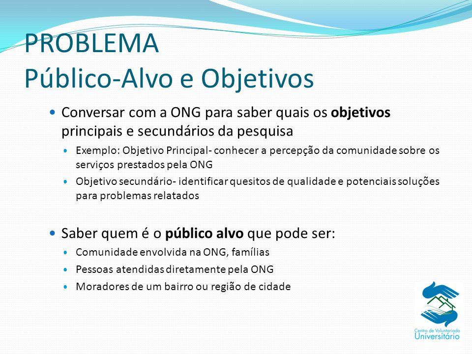 PROBLEMA Público-Alvo e Objetivos Conversar com a ONG para saber quais os objetivos principais e secundários da pesquisa Exemplo: Objetivo Principal-
