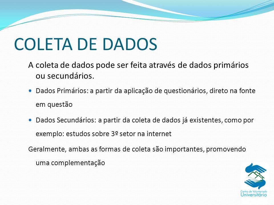 COLETA DE DADOS A coleta de dados pode ser feita através de dados primários ou secundários. Dados Primários: a partir da aplicação de questionários, d