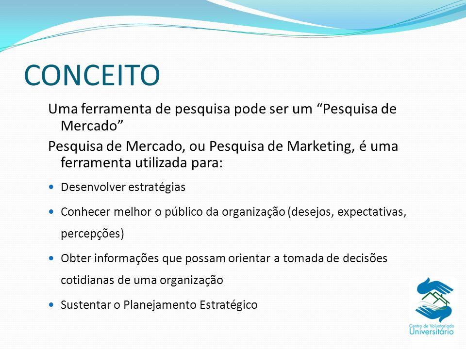 CONCEITO Uma ferramenta de pesquisa pode ser um Pesquisa de Mercado Pesquisa de Mercado, ou Pesquisa de Marketing, é uma ferramenta utilizada para: De