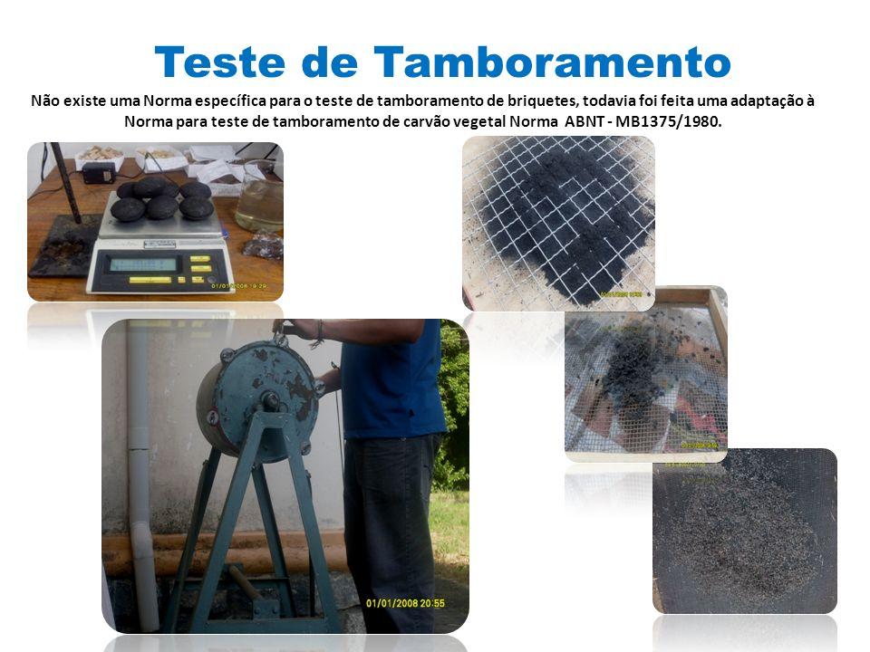 Teste de Tamboramento Não existe uma Norma específica para o teste de tamboramento de briquetes, todavia foi feita uma adaptação à Norma para teste de tamboramento de carvão vegetal Norma ABNT - MB1375/1980.