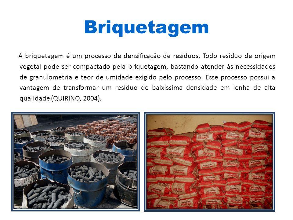 Briquetagem A briquetagem é um processo de densificação de resíduos. Todo resíduo de origem vegetal pode ser compactado pela briquetagem, bastando ate