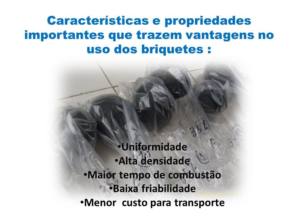 Características e propriedades importantes que trazem vantagens no uso dos briquetes : Uniformidade Alta densidade Maior tempo de combustão Baixa friabilidade Menor custo para transporte