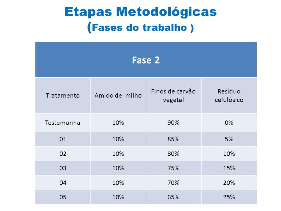 Fase 1 TratamentoFinos de carvão vegetal Resíduo Celulósico 0175%25% 0270%30% 0365%35% 0460%40% 0555%45% Fase 2 TratamentoAmido de milho Finos de carvão vegetal Resíduo celulósico Testemunha10%90%0% 0110%85%5% 0210%80%10% 0310%75%15% 0410%70%20% 0510%65%25% Etapas Metodológicas ( Fases do trabalho )