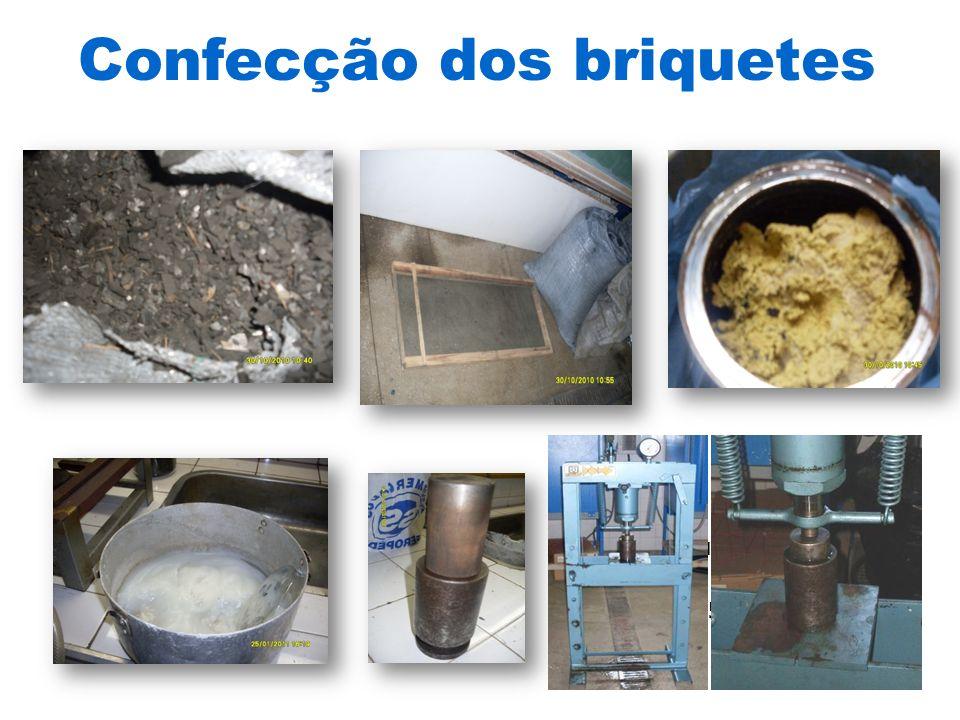 Briquetadeira Marca Nogueira 15 ton MoldeAmido de milho gelatinizado Resíduo celulósico Peneira classificatória malha 3mm Finos de carvão Confecção dos briquetes