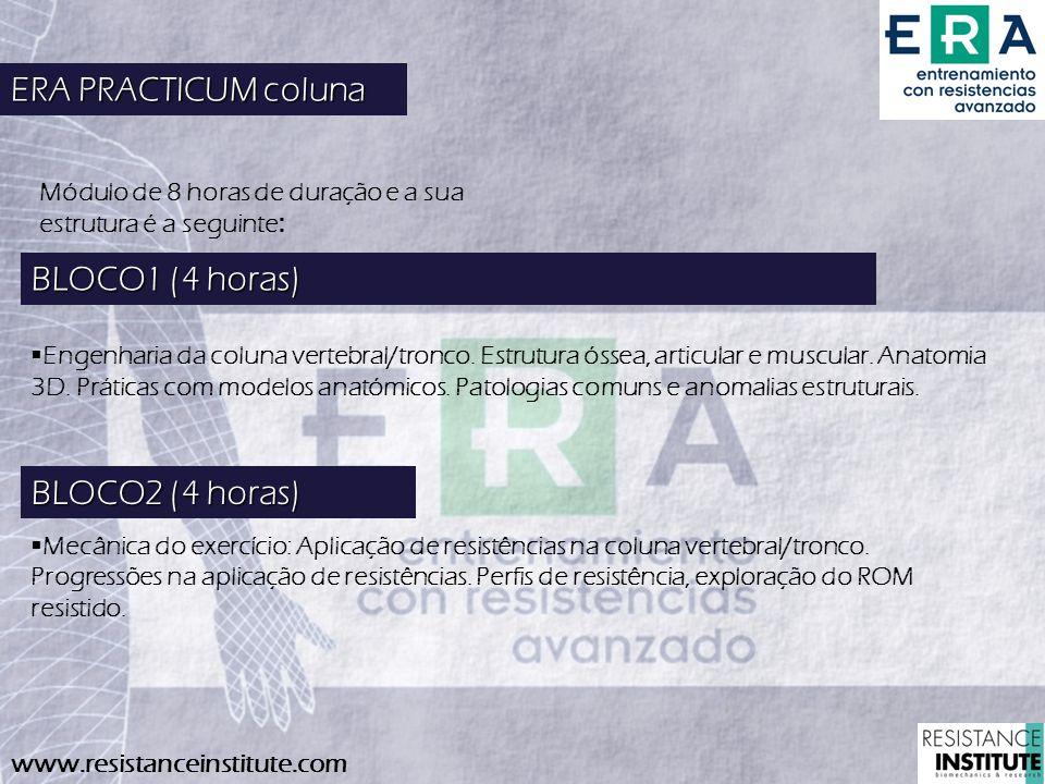 BLOCO2 (4 horas) Mecânica do exercício: Aplicação de resistências na coluna vertebral/tronco. Progressões na aplicação de resistências. Perfis de resi