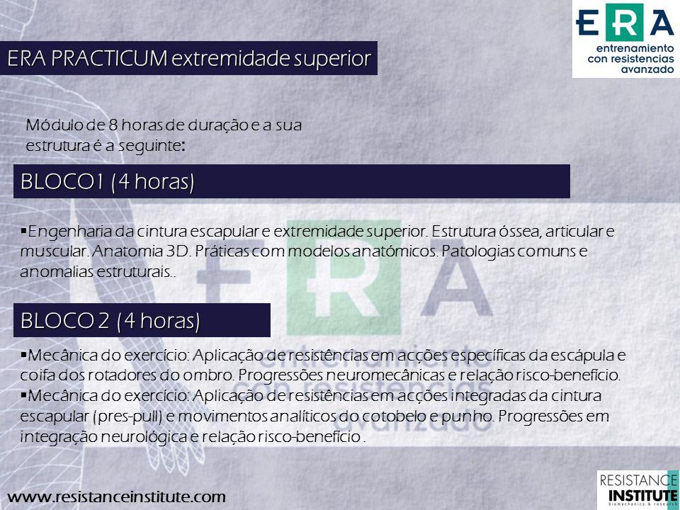 www.resistanceinstitute.com BLOCO 2 (4 horas) Mecânica do exercício: Aplicação de resistências em acções específicas da escápula e coifa dos rotadores