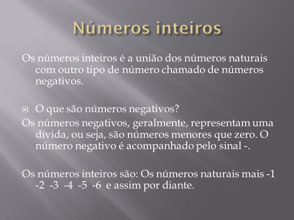 Os números inteiros é a união dos números naturais com outro tipo de número chamado de números negativos. O que são números negativos? Os números nega