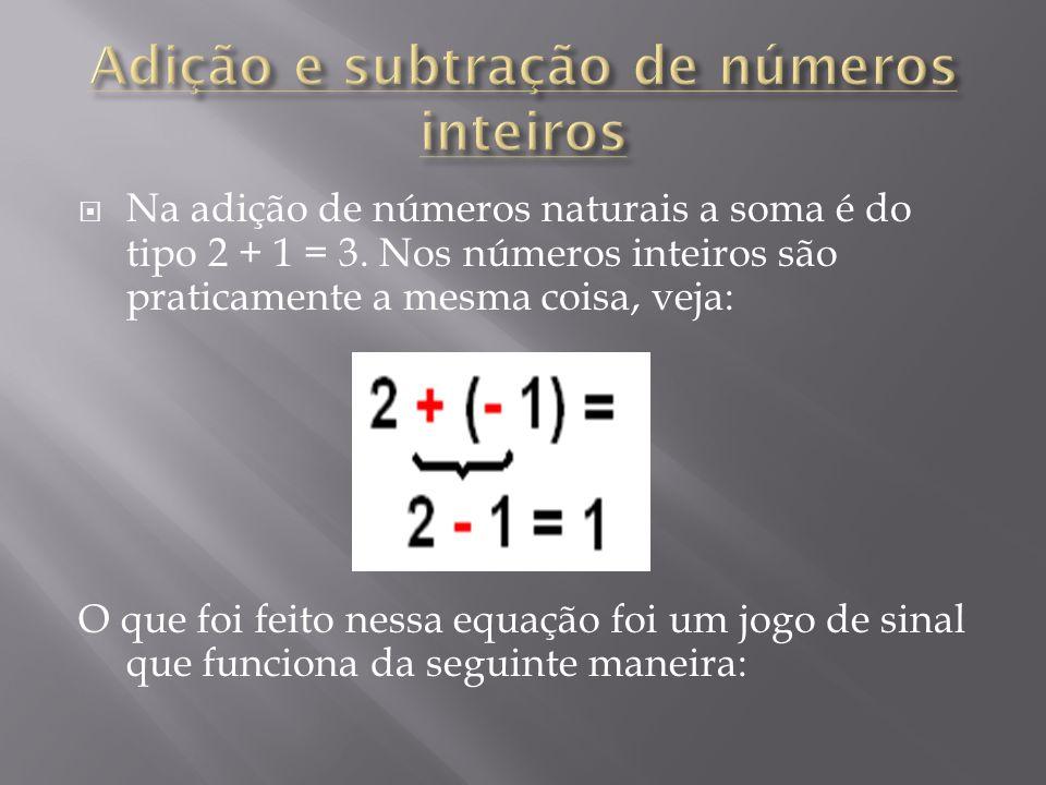 Na adição de números naturais a soma é do tipo 2 + 1 = 3. Nos números inteiros são praticamente a mesma coisa, veja: O que foi feito nessa equação foi