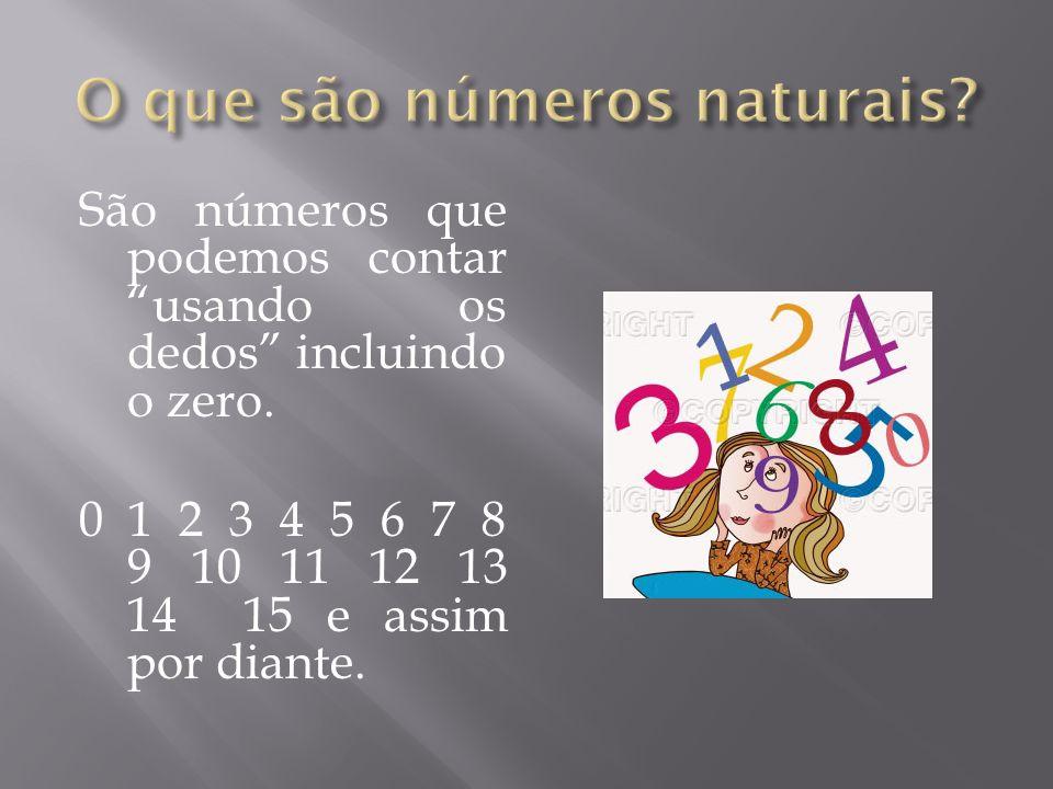 São números que podemos contar usando os dedos incluindo o zero. 0 1 2 3 4 5 6 7 8 9 10 11 12 13 14 15 e assim por diante.